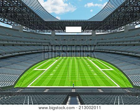 Modern American Football Stadium With Grey Seats