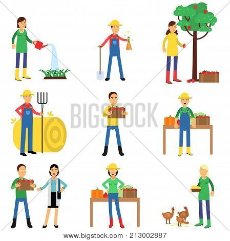 Farmers characters set working at farm, watering plants, gardening, harvesting and selling farm products. Agriculture icons. Growing organic food concept. Flat vector illustration isolated on white.