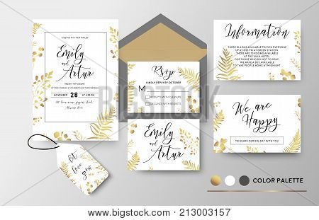 Wedding invite invitation thank you rsvp label card vector floral design; golden foil print pattern of forest leaves palm fern fronds eucalyptus branch berry herbal mix. Luxury elegant big set