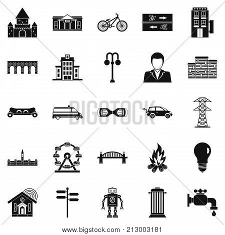 Urban hobby icons set. Simple set of 25 urban hobby vector icons for web isolated on white background