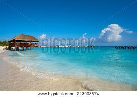 Riviera Maya Maroma Caribbean beach palapa hut in Mayan Mexico