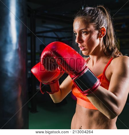 Woman Boxing On Training In The Gym, Toned Image, One Woman Only