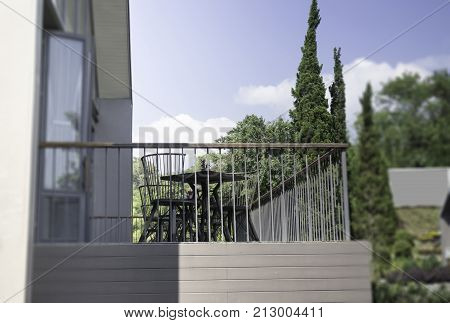 Minimal architecture in summer blue sky day stock photo