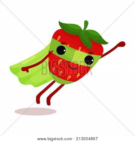 Superhero strawberry in green cape and mask flying with hand up to world rescue. Flat cartoon berry character with super powers. Organic fruit. Vector illustration for print, card, sticker or badge.