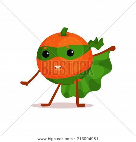 Funny cartoon character of superhero orange with green cape and mask in action. Fruit with super powers. Flat vector isolated on white background. Good for kids t-shirt print, card, sticker, badge.