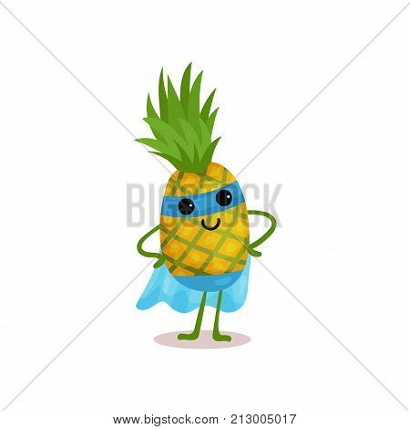Smiling superhero pineapple standing with arms akimbo in blue mask and cape. Cartoon fruit defender character with super powers. Flat vector illustration for kids t-shirt print, card, sticker, badge.
