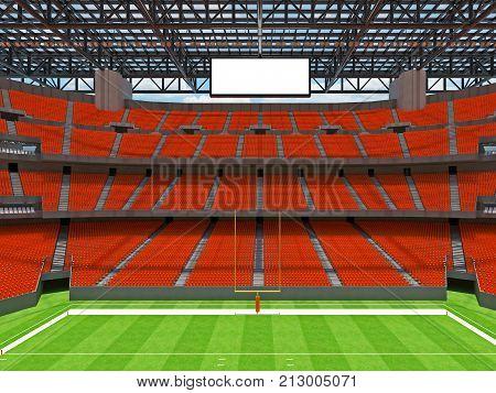 Modern American Football Stadium With Orange Seats