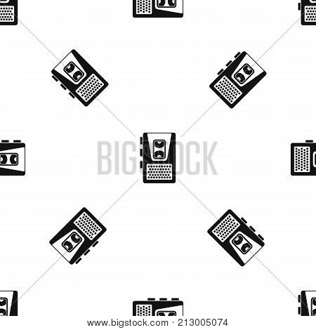 Dictaphone pattern repeat seamless in black color for any design. Vector geometric illustration