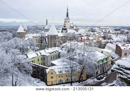TALLINN ESTONIA - FEBRUARY 23 2016: Panoramic view of Old Town in Tallinn Estonia. Old Town is listed in the UNESCO World Heritage List