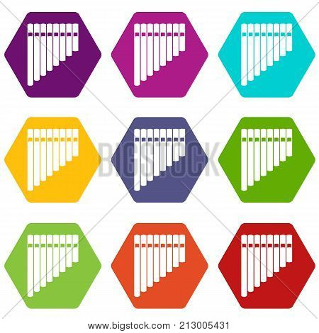 Pan flute icon set many color hexahedron isolated on white vector illustration