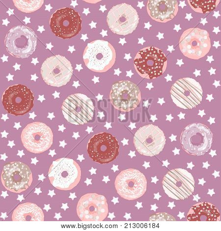Sweet donuts with colorful glaze and stars background. A seamless pattern can be used for textiles postcards wallpaper. Abstract concept for cafe restaurant breakfast menu desserts bakery.