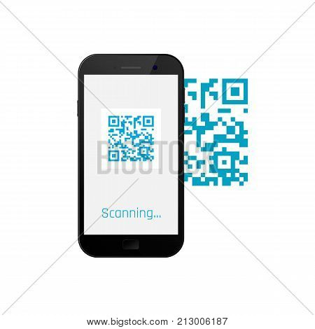 mobile phone scanning qr code. QR code on screen mobile. Vector illustration