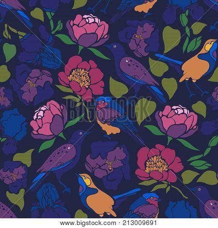 Sturnus vulgaris, Erithacus rubecula, Phoenicurus phoenicurus, Paeonia, Tulipa, Iris. Seamless pattern with birds and flowers. Flat design. Vector illustration.
