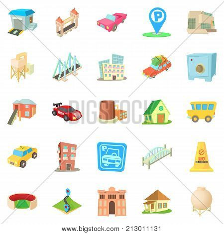 Vast city icons set. Cartoon set of 25 vast city vector icons for web isolated on white background