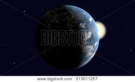Are visible India and the Arabian Peninsula Africa on earth illuminated by the sun rotates around its axis into space 3d rendering elements of image furnished by NASA