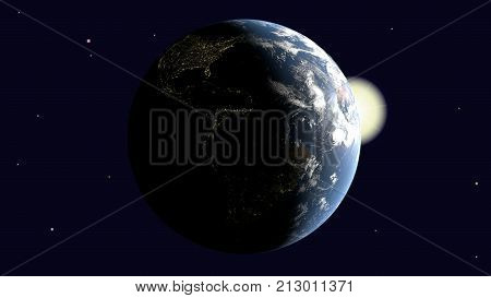 Are visible America on earth illuminated by the sun rotates around its axis into space 3d rendering elements of image furnished by NASA