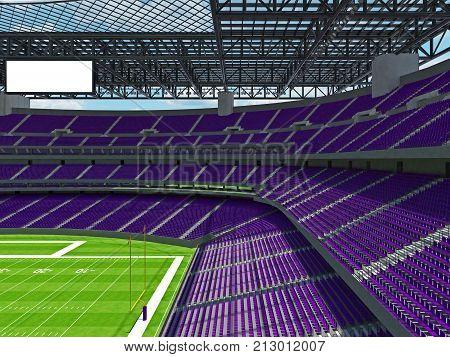Modern American Football Stadium With Purple Seats