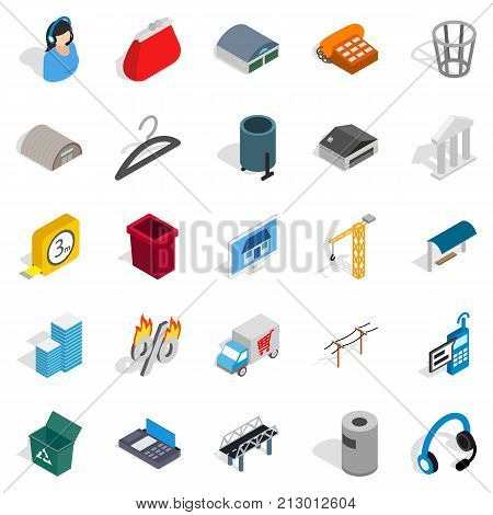 Industrial zone icons set. Isometric set of 25 industrial zone vector icons for web isolated on white background