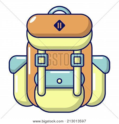 Backpack tourism icon. Cartoon illustration of backpack tourism vector icon for web