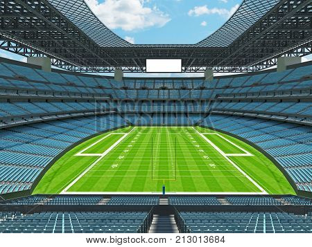Modern American Football Stadium With Sky Blue Seats