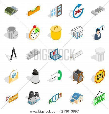Power plant zone icons set. Isometric set of 25 power plant zone vector icons for web isolated on white background