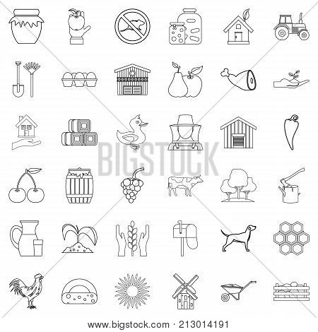Housekeeping icons set. Outline style of 36 housekeeping vector icons for web isolated on white background