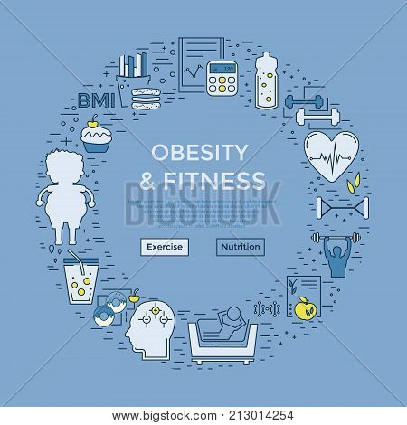 Web page design template with different obese and fitness and icons. Unique design concept for obesity problems site. Website layout.