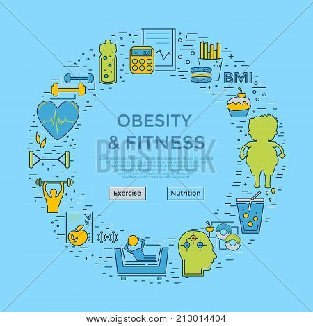 Web page design template with different obese and fitness and icons. Unique design concept for obesity problems site. Website background.