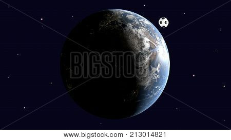 A realistic soccer ball is a space satellite of the earth Europe and Africa are clearly visible 3d rendering elements of image furnished by NASA