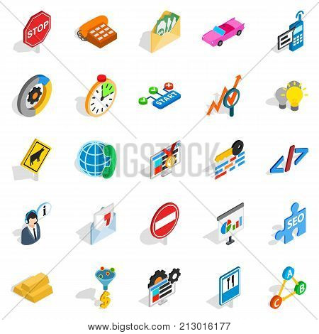 Convenient icons set. Isometric set of 25 convenient vector icons for web isolated on white background