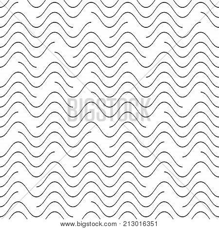 Black vector seamless wavy line pattern discontinuous design
