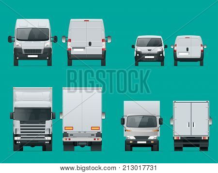 Set of cargo trucks front and rear view. Delivery Vehicles isolated. Cargo Truck and Van. Vector illustration