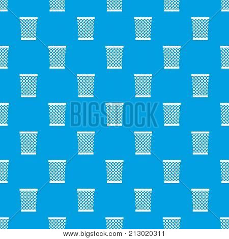 Wastepaper basket pattern repeat seamless in blue color for any design. Vector geometric illustration