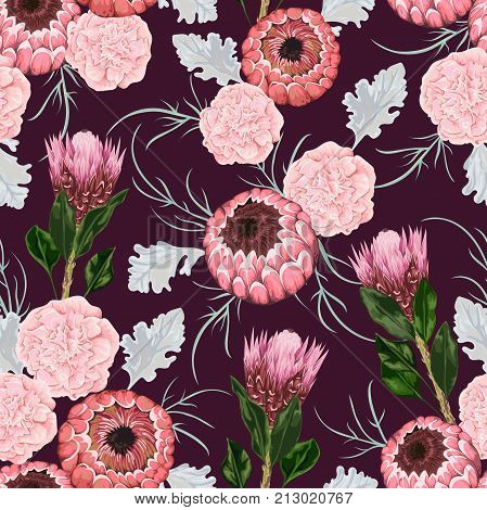 Seamless pattern with carnation, dusty miller, protea flowers, leaves and buds. Decorative holiday floral background. Vintage vector illustration in watercolor style