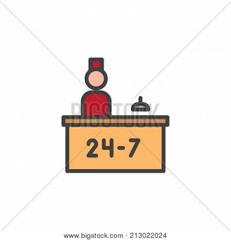 Hotel reception service and receptionist filled outline icon, line vector sign, linear colorful pictogram isolated on white. Symbol, logo illustration. Pixel perfect vector graphics