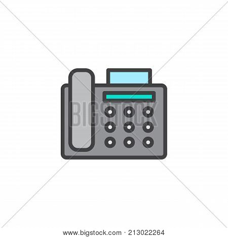 Fax machine filled outline icon, line vector sign, linear colorful pictogram isolated on white. Office telephone symbol, logo illustration. Pixel perfect vector graphics