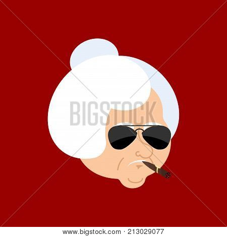 Grandmother Cool Serious Avatar Of Emotions. Grandma Smoking Cigar Emoji. Strict. Vector Illustratio
