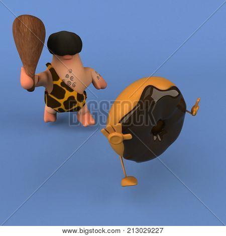 Fun caveman - 3D Illustration