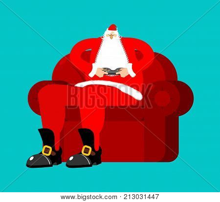 Santa Play Video Games. Claus And Joystick. Grandfather On Chair With Gamepad. Christmas Rest. New Y