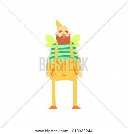 Freak fat bearded man character in funny bee costume, freaky masquerade or carnival costume, creative party in crazy style cartoon vector Illustration on a white background