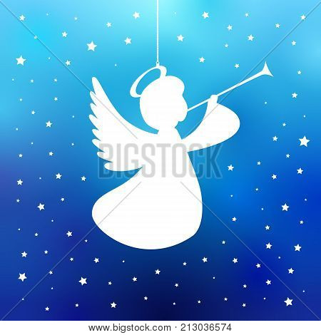 Flying angel with trumpet on a navy blue background. White isolated angel with trumpet starry silhouette, Merry Christmas card. Vector illustration