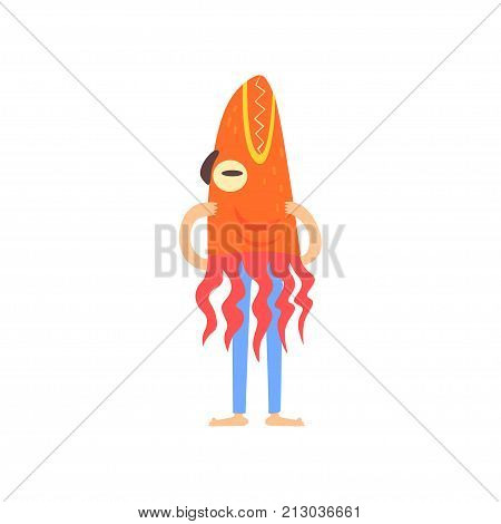 Freak man character in funny costume, freaky masquerade or carnival costume, creative party in crazy style cartoon vector Illustration on a white background