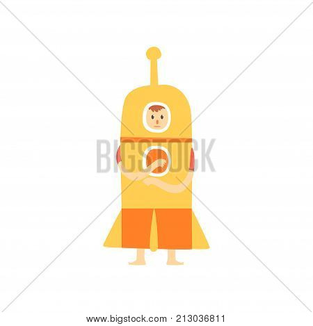 Freak man character in funny rocket costume, freaky masquerade or carnival costume, creative party in crazy style cartoon vector Illustration on a white background