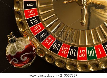 colorful  brilliant christmas decoration and roulette wheel