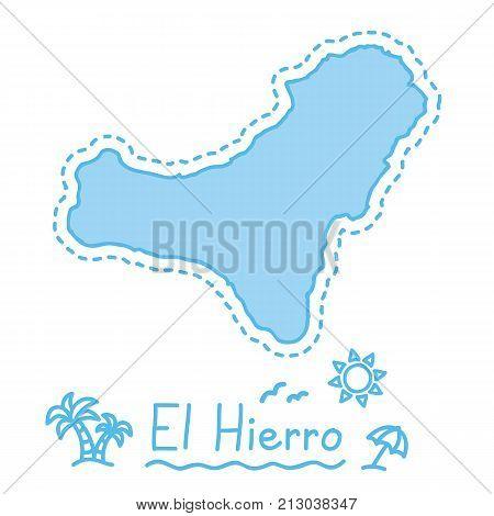El Hierro island map isolated cartography concept canary islands vector