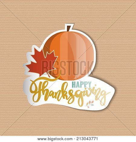 Happy Thanksgiving. Holiday sticker template design. Stock vector