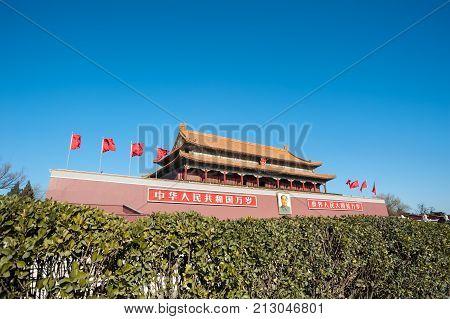 BEIJING, CHINA - DEC 26, 2013 - Tiananmen Gate and Chairman Mao Portrait, Beijing, China