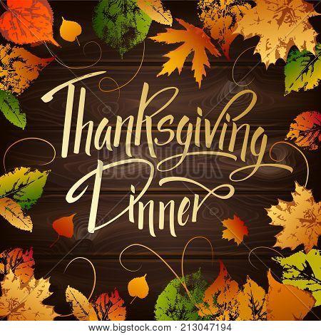 Thankgiving Dinner Greeting Card. Lettering Thankgiving Dinner