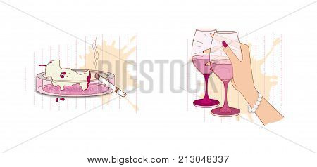 A set of illustrations on etiquette in a restaurant: a glass of wine in her hand a stub and a stub in an ashtray