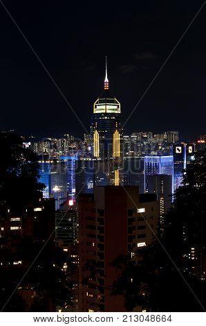 WANCHAI HONG KONG - MAY 31 2013 - Central Plaza at night as seen from Stubbs Road Wan Chai Hong Kong